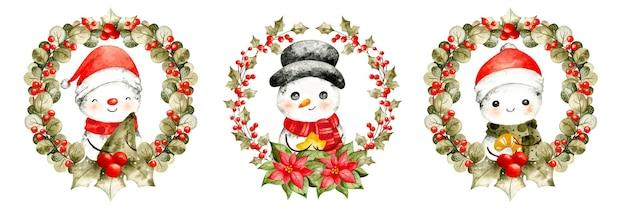 Ghirlanda di natale ad acquerello con pupazzo di neve