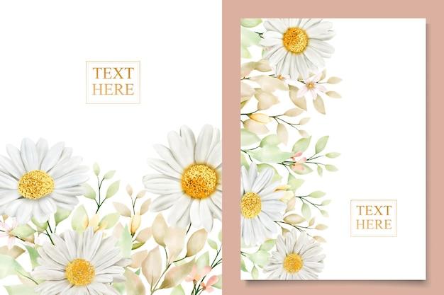 Set di carte di nozze con crisantemo ad acquerello