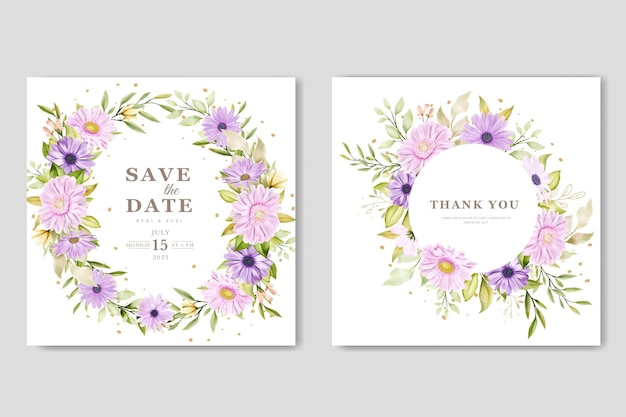 Carta di nozze crisantemo acquerello