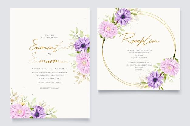 Biglietto d'invito matrimonio crisantemo acquerello