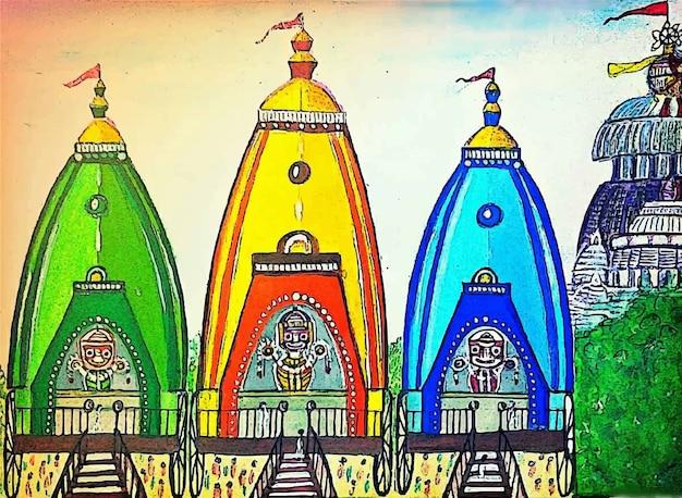 Illustrazione disegnata a mano di simbolo religioso della chiesa dell'acquerello