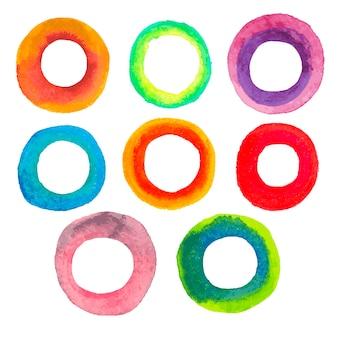 Cornici circolari ad acquerello colori brillanti verde arancio rosso blu viola giallo