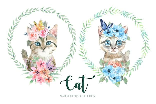 Collezione acquerello di gatti e mazzi di fiori.