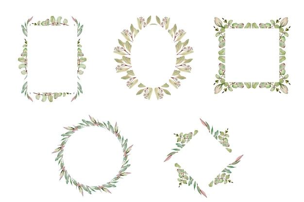 Collezione di acquerelli di cornici con fiori