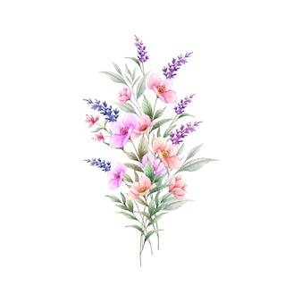 Acquerello colorato bouquet di fiori primaverili selvatici