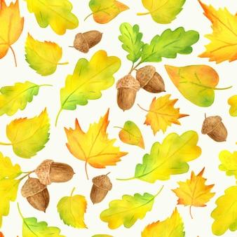 Reticolo senza giunte delle foglie autunnali gialle variopinte dell'acquerello. sfondo autunnale