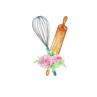 Elementi culinari della composizione dell'acquerello per la cucina per cuocere il mattarello, la frusta e un mazzo di fiori
