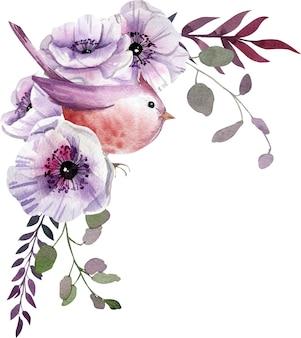 Composizione dell'acquerello con fiori bianchi e viola, foglie.