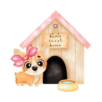 Un cucciolo di corgi dell'acquerello si trova davanti a una cabina. isolato su sfondo bianco. illustrazione dell'acquerello