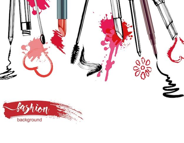 Modello di cosmetici ad acquerello con oggetti da truccatore sfondo di bellezza vettoriale disegnato a mano