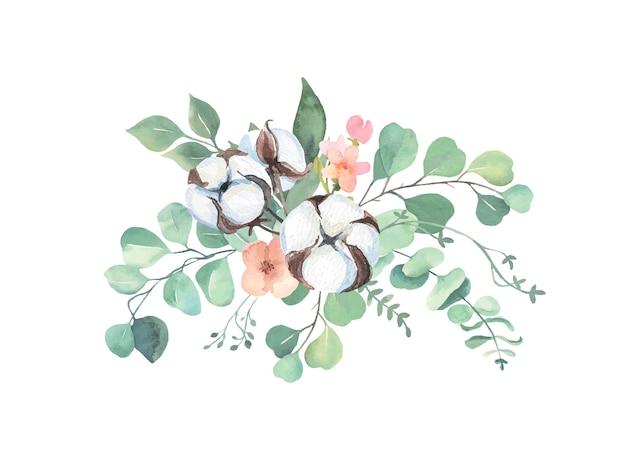 Batuffoli di cotone dell'acquerello e bouquet di eucalipto