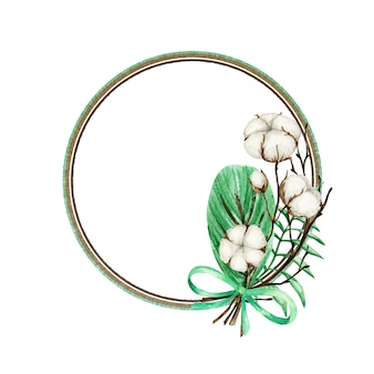 Cornice di rami di fiori di cotone dell'acquerello. illustrazione disegnata a mano botanica del prodotto di eco. palle di boccioli di fiori di cotone in stile vintage. foglie verdi, confine di stile di vita di eco della natura della palla della pianta con lo spazio della copia