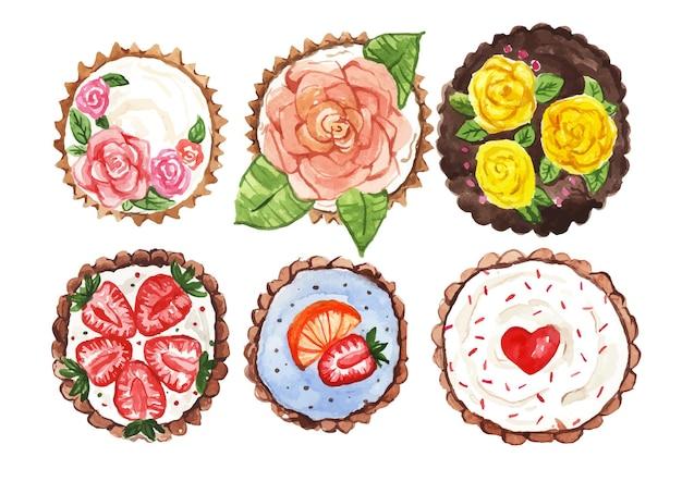Cupcakes dell'acquerello con vista dall'alto di decorazione Vettore Premium