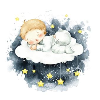 Acquerello carino bambino dormire sulla nuvola