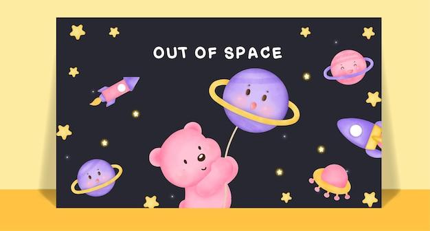 Orso sveglio dell'acquerello sulla cartolina postale della luna.