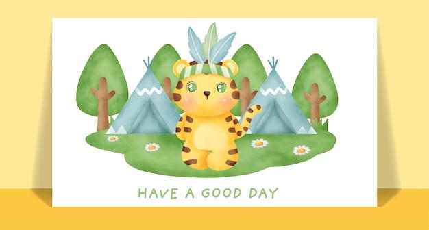 Acquerello carino boho tigre nella cartolina d'auguri della foresta.