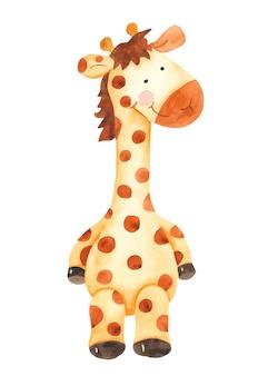 Clipart sveglio del giocattolo della giraffa del fumetto dell'acquerello
