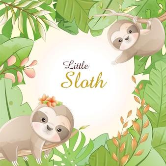 Piccolo bradipo del fumetto sveglio dell'acquerello con floreale