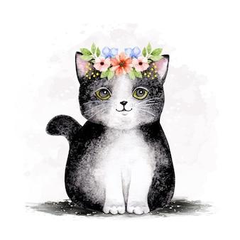 Acquerello simpatico gatto che indossa ghirlanda di fiori