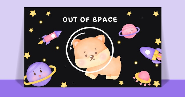 Cane carino corgi dell'acquerello nella cartolina della galassia.