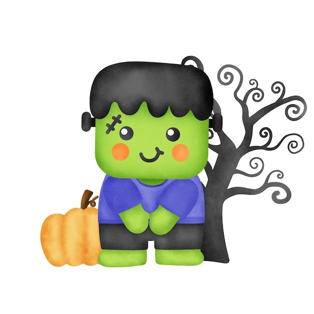 Frankenstein carino dell'acquerello per la carta di halloween.