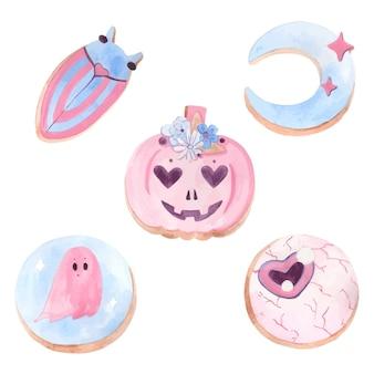 Acquerello, biscotti di halloween carino, su uno sfondo bianco