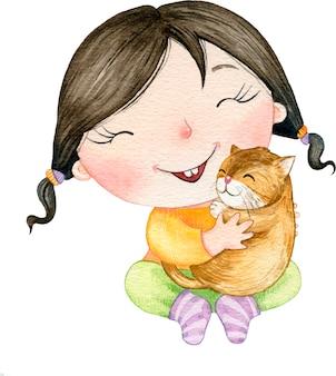Illustrazione sveglia dell'acquerello bella bambina che abbraccia un gatto