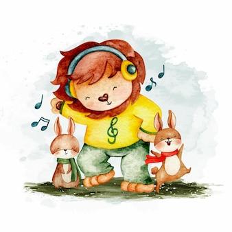 Leone carino acquerello che balla con i conigli