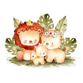 Famiglia di leoni carino dell'acquerello