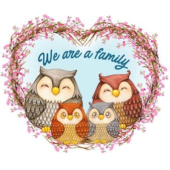 Famiglia simpatico gufo dell'acquerello su una corona di cuore