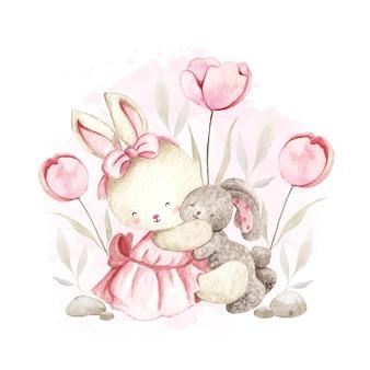 Acquerello simpatico coniglio che gioca bambola