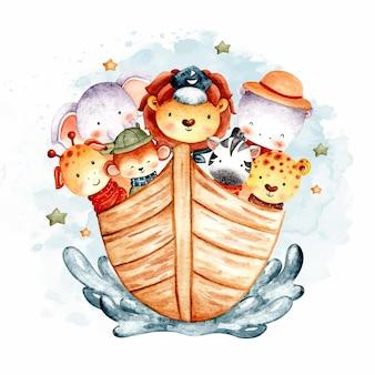 Simpatici animali da safari ad acquerello nell'arca