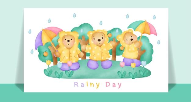 Orsacchiotto sveglio dell'acquerello sotto la pioggia per biglietto di auguri