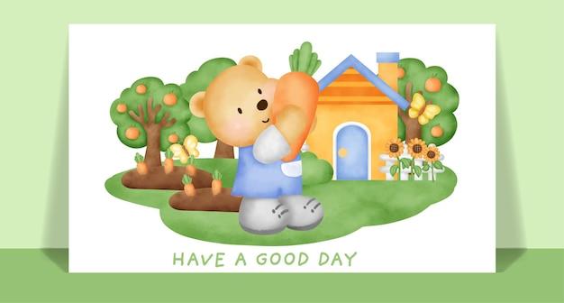 Orsacchiotto sveglio dell'acquerello nella cartolina d'auguri del giardino vegtable.