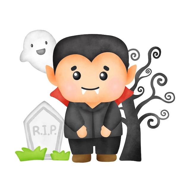 Vampiro sveglio dell'acquerello per la carta di halloween.