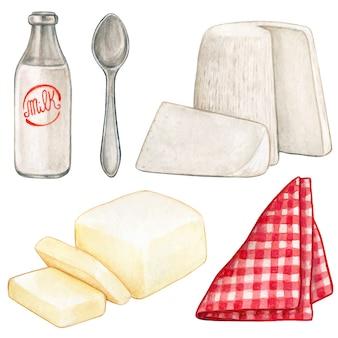 Prodotti lattiero-caseari dell'acquerello e tovagliolo a quadretti rosso Vettore Premium
