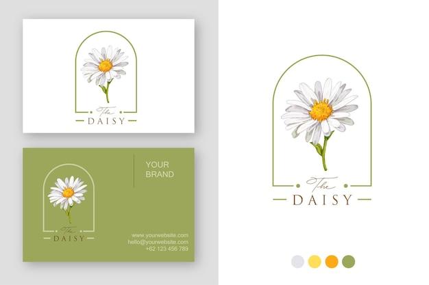 Modello di biglietto da visita di progettazione di logo del fiore della margherita dell'acquerello
