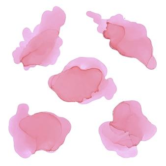 Set di spruzzi di rosa scuro dell'acquerello. trama di inchiostro alcolico. sfondo colorato astratto. texture acquerello dipinto a mano