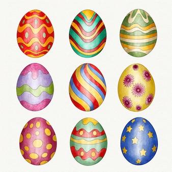 Collezione di uova di pasqua decorative dell'acquerello