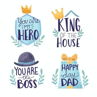 Progettazione dell'acquerello etichette festa del papà
