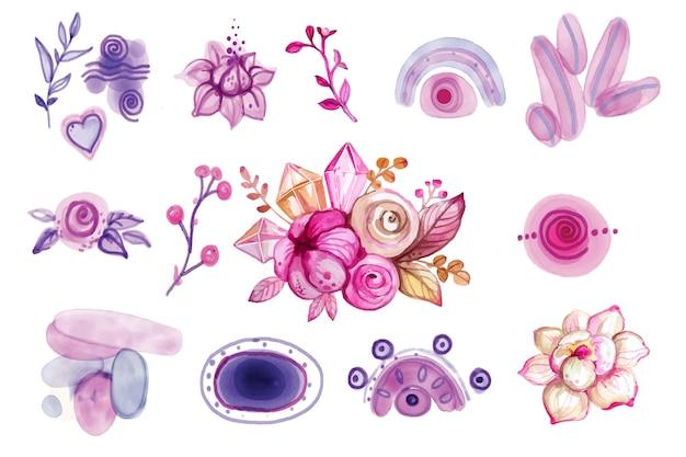 Insieme di elementi floreali di disegno dell'acquerello