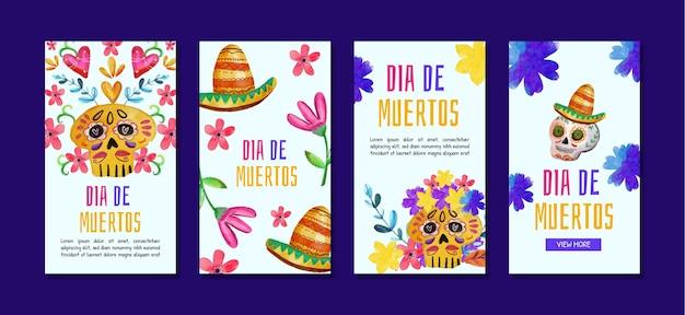 Collezione di storie instagram dia de muertos ad acquerello