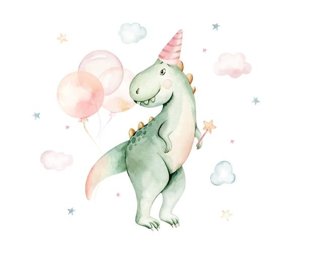 Dinosauro dell'acquerello isolato su uno sfondo bianco illustrazione disegnata a mano del bambino del fumetto showe