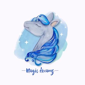 Unicorno da sogno dell'acquerello