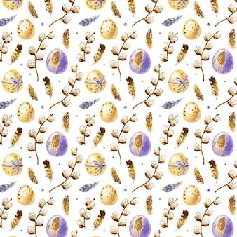 Reticolo di pasqua dell'acquerello con uova di pasqua, piume e foche di salice