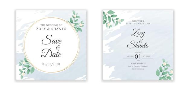 Modello di biglietto d'invito per matrimonio con design elegante di forma rotonda dell'acquerello