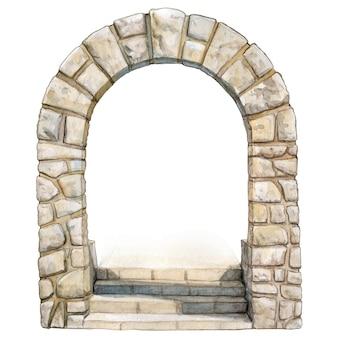 Arco di pietra elegante dell'acquerello disegnato a mano