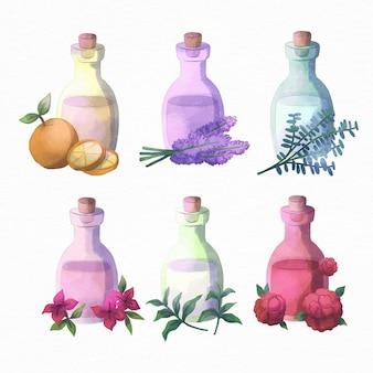 Collezione di bottiglie di olio essenziale dell'acquerello