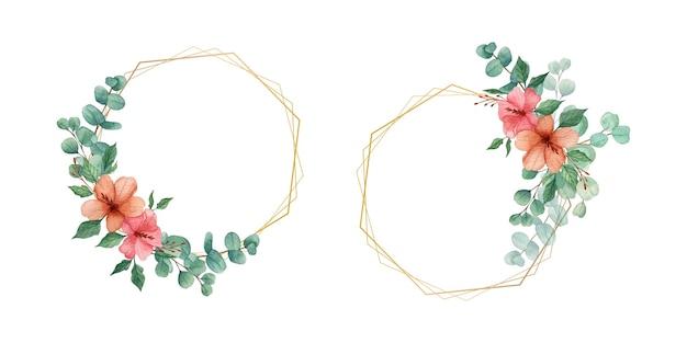 Foglie di eucalipto dell'acquerello con ghirlanda floreale
