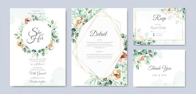 Insieme di carta dell'invito di nozze dell'eucalyptus dell'acquerello